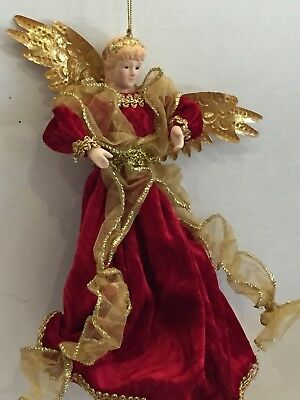 Vintage LARGE RED & Gold RIBBON ANGEL ORNAMENT