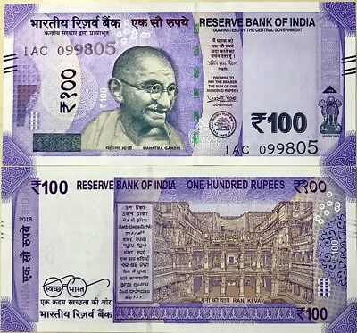 India 100 Rupees 2018 P New Color Purple Design Unc Nr