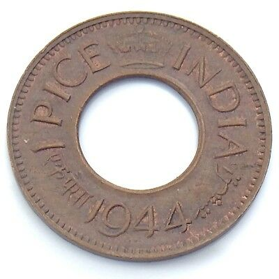 1944 India 1 One Pice Indian Circulated King George VI Hole Coin G916