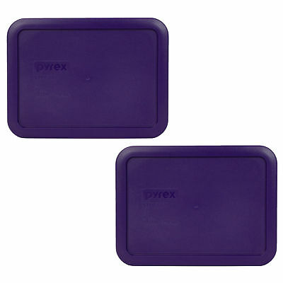 Pyrex 7210-PC Purple Rectangle 3 Cup Storage Lid Cover 2PK for Glass Dish
