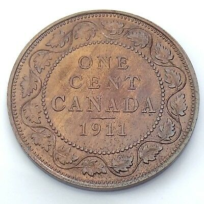 1911 Canada One 1 Cent Copper Penny Canadian Varnished Circulated Coin G921