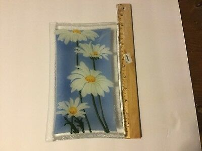 Peggy Karr Fused Art Glass Daisy Rectangular Plate, 5 12 Inches By 9 12 Inches
