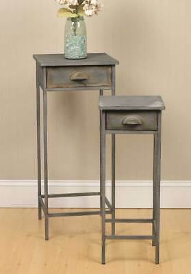 Country SET OF TWO BEDSIDE TABLES Farmhouse Rustic Primitive Vintage Gray Metal