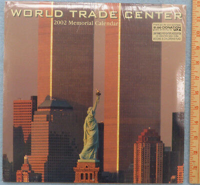 "World Trade Center 2002 Memorial Calendar 12x12"" NEW Sealed Donation Sticker"