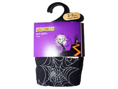 Girl's Ex Store Halloween Tights Black and Silver Spider's Web