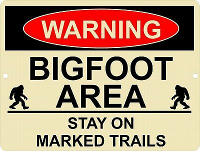 Vintage Retro Style BIGFOOT 2 Sasquatch Area Stay Marked Trail Metal Sign 9x12