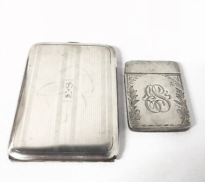 Antique Sterling Silve Vesta Case and Cigarette Case, both matching monograms
