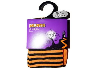 Girl's Ex Store Halloween Tights Black and Orange Striped