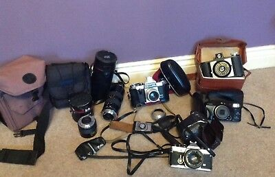 Joblot Of Vintage Camaras - Olympus OM2 - Canon - Wembley - Praktica - Cases