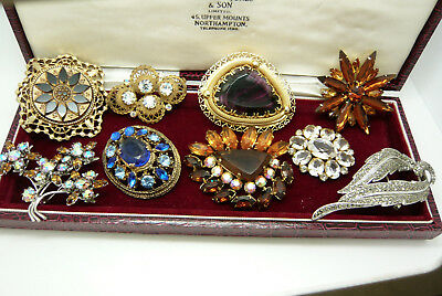Large Mixed Job Lot Collection Of Vintage Rhinestone Brooches Pins Various Eras