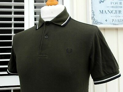 Fred Perry M1200 Army Green Twin Tipped Polo - S/M - Ska Mod Scooter Casuals