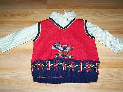 Size 18 Months Baby Togs Holiday Horse Sweater Vest & Button Up Dress Shirt EUC