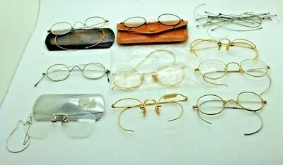 Lot of Antique Old Vintage Wire Rimmed Glasses some 12K GF 10 Frames +more Parts