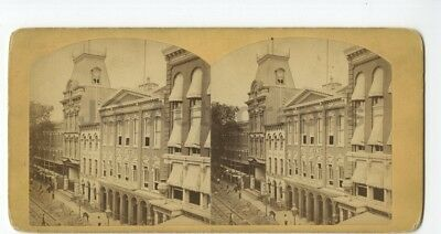 Brooklyn, NY - 19th Century Stereoview - Theatre, Police Station & Post Office