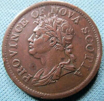 1824 Province of Nova Scotia Canada Colonial One Penny Token - Thistle Copper