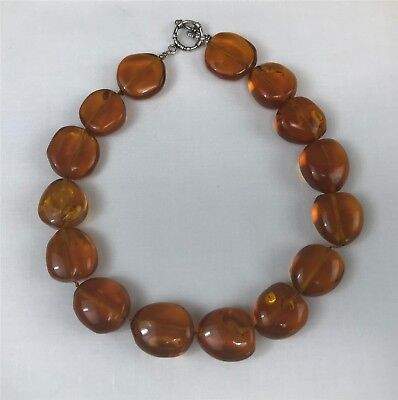 """16-1/2"""" Natural Amber Nugget Choker Necklace"""