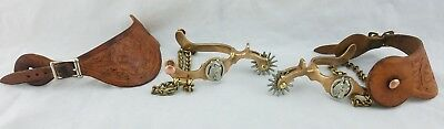 VINTAGE Pair ANCHOR BRAND NORTH & JUDD Spurs solid Brass & hand tooled leather