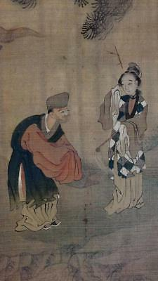 ANTIQUE CHINESE SCROLL PAINTING, LITERARY SCENE, TWO FIGURES in GARDEN, NO RES