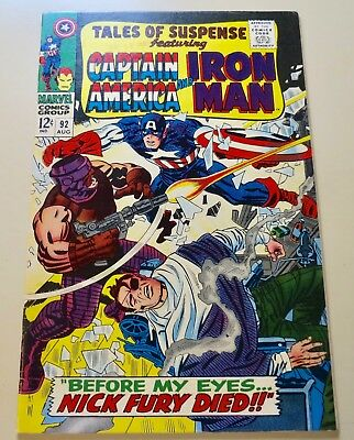 18-C1323: Tales of Suspense # 92, 1967, VF/NM 9.0! 1st Nick Fury x-over! See Pro