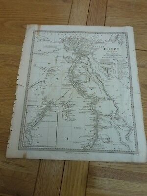 1831 Original Map Sheet Upper Egypt & Nile G Long 16 X 14""