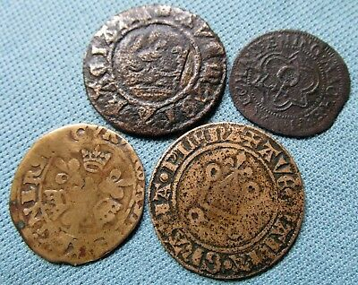 Late Medieval France & Nuremberg Old Jetons Reckoning Counters Brass Alloys