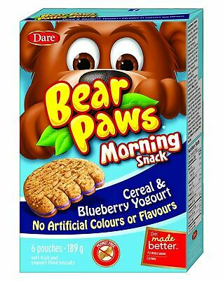 Dare Bear Paws Morning  Blueberry Cereal & Yogurt, 189g {Imported from Canada}
