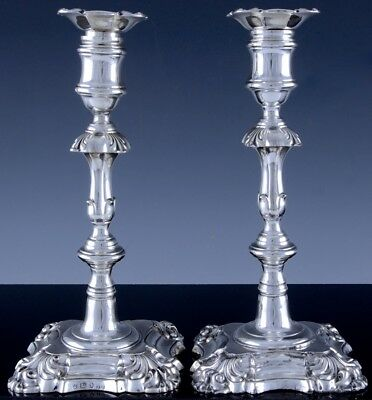 Gorgeous 1838 Early Victorian Creswicks Sheffield Sterling Silver Candlesticks