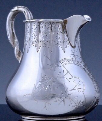 RARE c1880 WHITING JAPANESE AESTHETIC MOVEMENT ETCHED STERLING SILVER CREAM JUG
