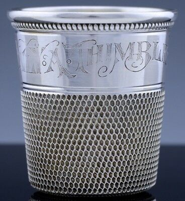 Victorian American Sterling Silver Sewing Thimble Whiskey Novelty Shot Glass