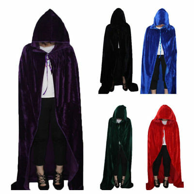 Unisex Halloween Cosplay Death Cape Long Hooded Cloak Wizard Witch Medieval Cape