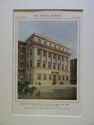 Children's Court Building, 137 E 22nd St, NY, 1914, Original Hand Colored