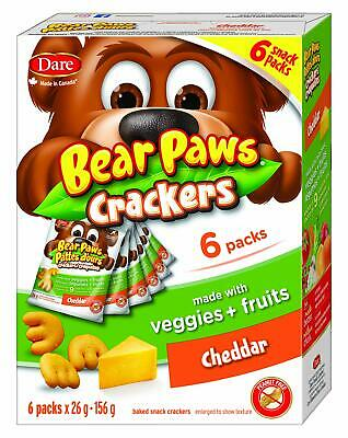 Dare Bear Paws Cheddar Crackers,  With Real Fruits & Veggies, 180g {Canadian}