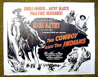 """GENE AUTRY - JAY (Tonto) SILVERHEELS - """"THE COWBOYS & the INDIANS"""" rolled poster"""