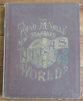 1890 Rand McNally New Standard Atlas Of The World Antique 11X14 Color Maps