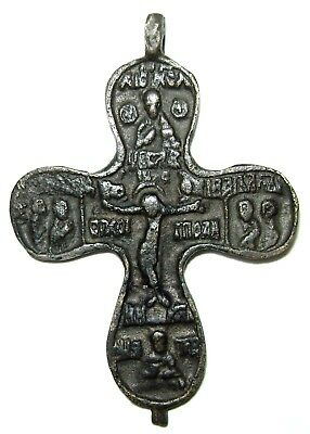 Ancient Medieval bronze cast cross / pendant with Jesus Christ and Co. 2.4""