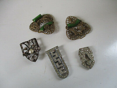 Vintage Collection Of Five  ART DECO  Diamante Filagree Dress Clips Fur Clips