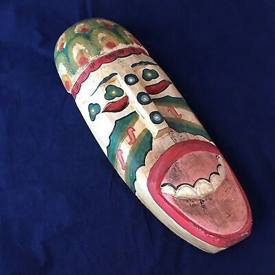 Wood Mask Multicolor Indonesia Balinese Colorful Wall Art Handmade Tribal 14""