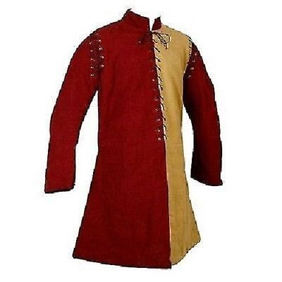 Thick yellow red longA shape Gambeson Medieval Padded collar full sleeves arafed
