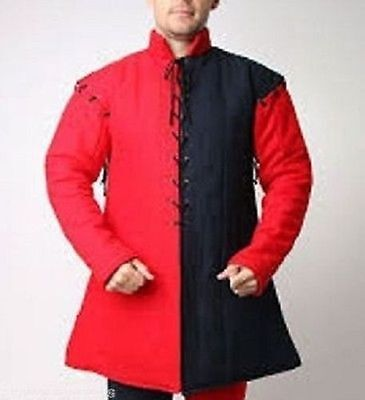 MEDival armour Thick- padded Red Black Gambeson role play movies custome.arafedd