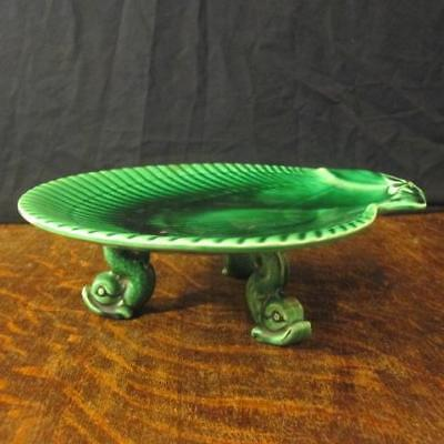 1876 Wedgwood Green Majolica Scallop Shell Comport Raised On Dolphin Feet