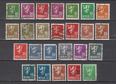 Norway / Norge - Lion - 25 Different Stamps
