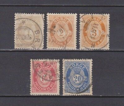 Norway / Norge - 1893 - Posthorn - 5 Stamps (2 Scans - 1 With Small Fault)