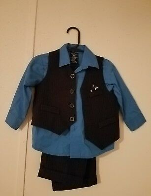 Boys 24 Month Dressy Shirt, Vest And Pants Blue Brand Nautica