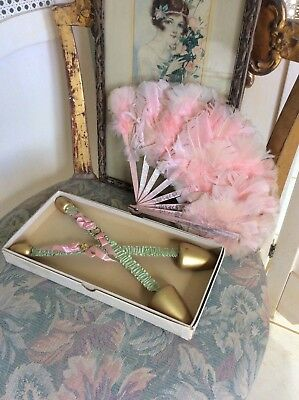 Art Deco Shoe Trees, Silk, Ribbon Work, and Feather Fan Set, Lovely Pinks!