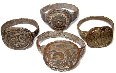 Ancient Medieval lot of 4 bronze Rings with ornament.