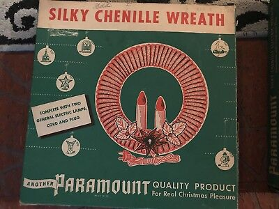VTG Antique Christmas PARAMOUNT Electric Silky Chenille Wreath Lighted 11 J8538e