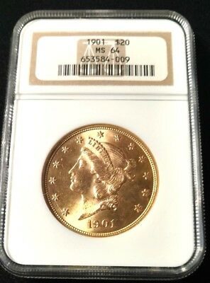 1901  $20 Gold Liberty NGC  MS-64.This is a Better Date in MS-64