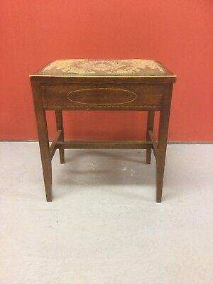 Antique Inlaid Piano Stool With Storage Under Sn-429