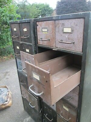Two vintage metal 10 drawer cabinets