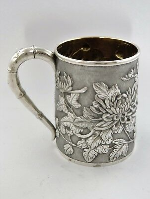 Superb CHINESE SILVER EMBOSSED MUG chased flowers, Shanghai 1880 HM tankard cup